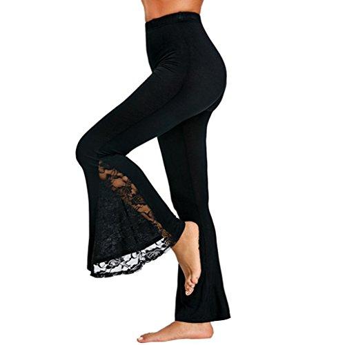 PAOLIAN Pantalones de Mujer Verano 2018 Pantalones de Vestir Encaje Palazzo Cintura Alta Pantalones Perspectiva Fluido Pantalones Acampanados señora Pantalones Pata de Elefante Rotos