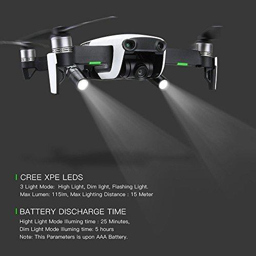 Alecony LED Scheinwerfer, 360 ° Flash LED Beleuchtung Kompatibel mit DJI MAVIC AIR Drohnen, Flug Licht Lampe Kit, Night Cruise Lichtlampe, Nachtflug Taschenlampe Zubehör, Drohnenlicht mit Halterung