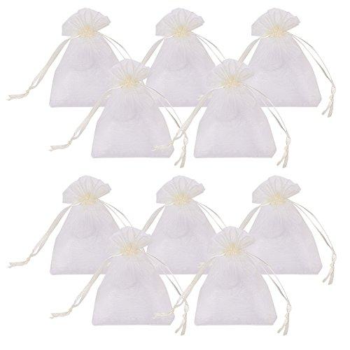 PandaHall 100pcs Bolsas de Organza 9x7cm para Joyas Caramelo Dulces Regalo Recuerdo Favores Detalles de Boda Navidad Halloween(PapayaWhip)