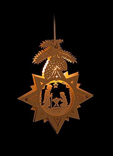 Erzgebirgsstübchen Fensterbild Christi Geburt beleuchtetes Fensterbild aus Holz Weihnachtsdeko Weihnachten