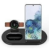Cargador inalámbrico 3 en 1, estación de carga inalámbrica, soporte de carga de 10 W para Samsung Galaxy Watch Active2/1, Galaxy Buds, AirPods, Galaxy S20/S10, iPhone SE/11 Pro/XS (negro)