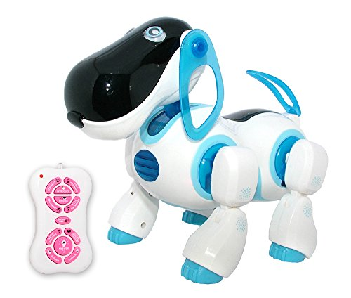 Playtech Logic Interactive Remote Control Dog Toy for Boys - Interactive Walking Talking RC Robot Dog Toys for Kids - LED Lights and Sound – Childrens Pet Robot Puppy for Boys - Blue (PL201)