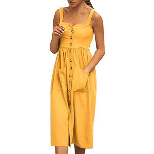 Vestidos de Mujer Verano, SUNNSEAN Color Liso Correa con Botones Largos Tirantes sin Mangas Casual Vestido Mini Swing con Bolsillos Falda de Verano Vestidos de Playa Traje de Viaje