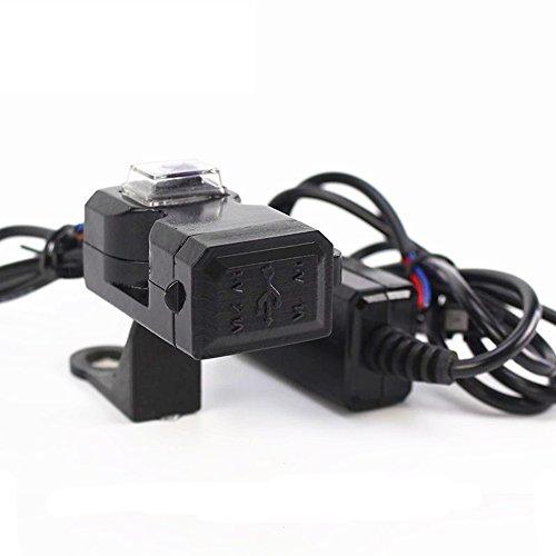 AUTLY 1x Chargeur USB pour Moto Port d'alimentation Étanche Double 2 Prise Prise Chargeur Adaptateur avec Interrupteur 12-24 V 2,1 Ampères Universel