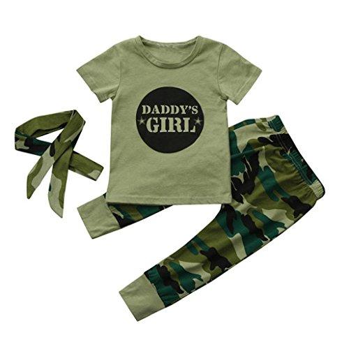 Ropa Bebé 3Pcs Recién Nacido bebé niñas Carta Tops + Pantalones de Camuflaje + Diadema Conjunto de Trajes de Ropa 6 Mes - 2 Años (Camuflaje, Tamaño:0-6Mes)