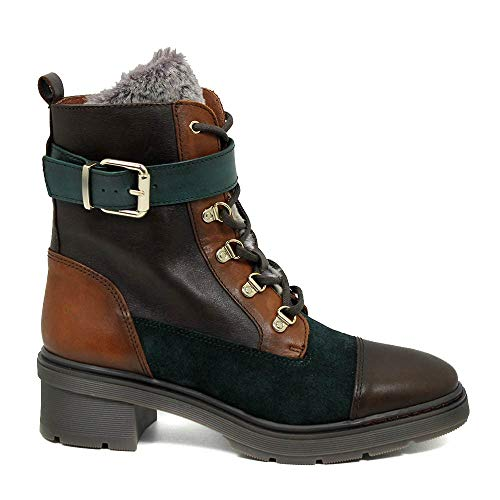 Hispanitas dames biker laarzen met veters GHI99128 Victori halfhoog meerkleurig leer