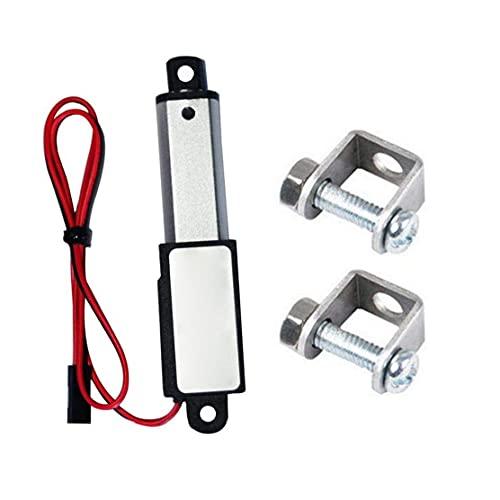 Accionador micro lineal Mini eléctrico Trazo de trabajo pesado Bajo ruido con soportes de montaje 12V 60N Longitud de trazo 30mm velocidad 15mm