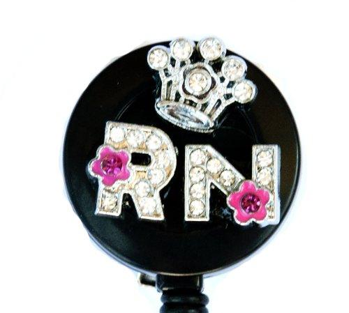 3D Crown Crystal Flower RN Logo Nurse Rhinestone Retractable Badge Reel/ID Badge Holder