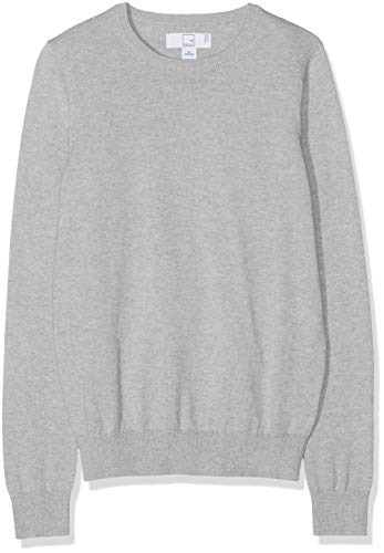 Amazon-Marke: MERAKI Baumwoll-Pullover Damen mit Rundhals, Grau (Light Grey), 38, Label: M