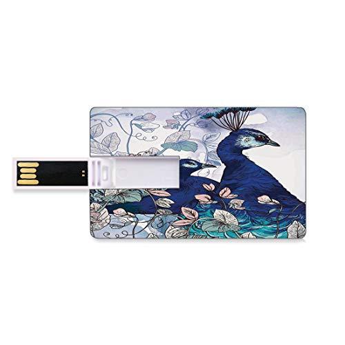 8 GB Unidades flash USB flash Decoración de pavo real Forma de tarjeta de crédito bancaria Clave comercial U Disco de almacenamiento Memory Stick Pavos Reales Decoración Flores Exóticas Plantas Jardín