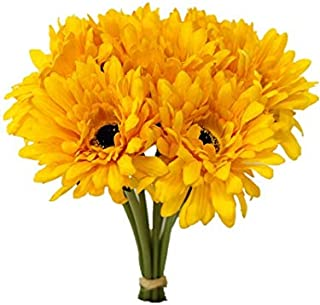 Sweet Home Deco 13'' Silk Artificial Gerbera Daisy Flower Bunch (W/ 7stems, 7 Flower Heads) Home/Wedding (Yellow)