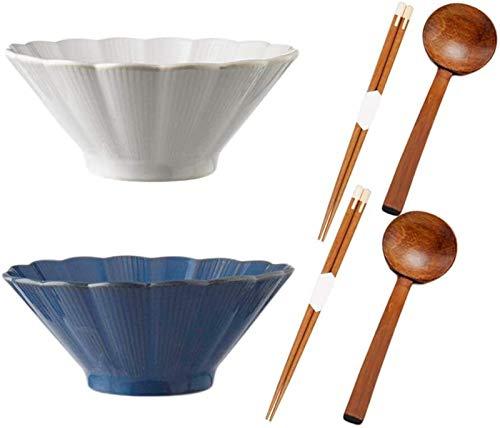 Bol Cuenco de Ramen de cerámica, 2 Piezas, tazón de Sopa de cerámica Ramen, sin Cuchara y Palillos, para Ensalada, Fideos de Udon