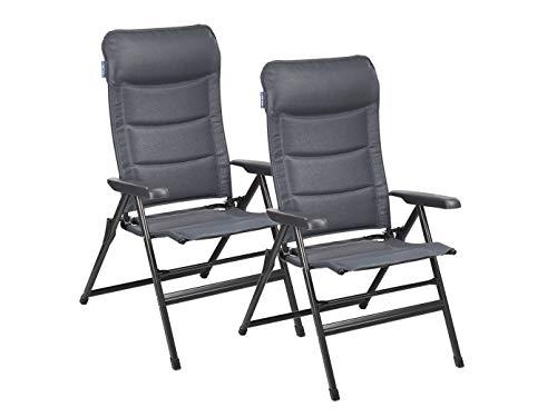 Lot de 2 chaises longues de camping Napoli XL 7 positions réglables Gris foncé