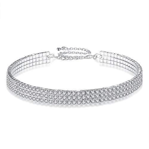 Longsing Collana Girocollo in Cristallo di Strass Collare di Diamanti da Donna Girocollo di Moda a 3 File per Regalo di Natale per Donna