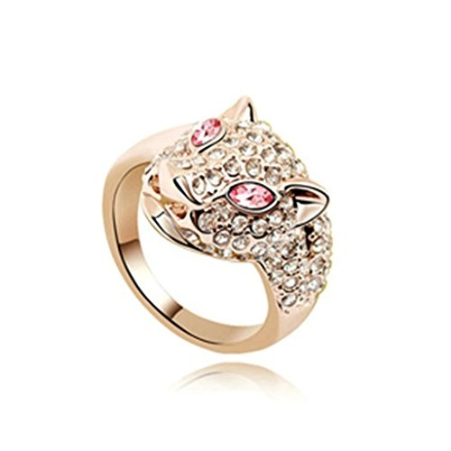 AmDxD Joyería Chapado en Oro Anillo de Compromiso para Chicas Leopardo Cristal Claro Rosa Roja Tamaño 15