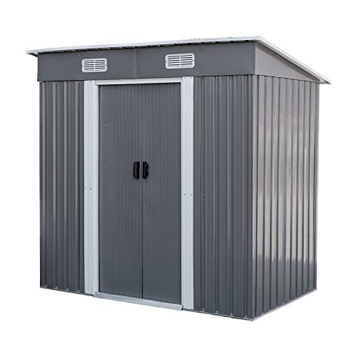 BAHOM Metal Sheds Outdoor Storage, 3.5X6 FT Horizontal Storage Shed for Home Outside, Patio and Backyard - Grey
