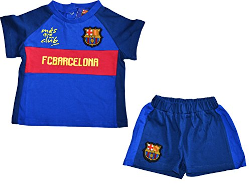Conjunto bebé Barca–+ Short–Camiseta oficial FC Barcelona, Bebé niño, azul, 36 Meses