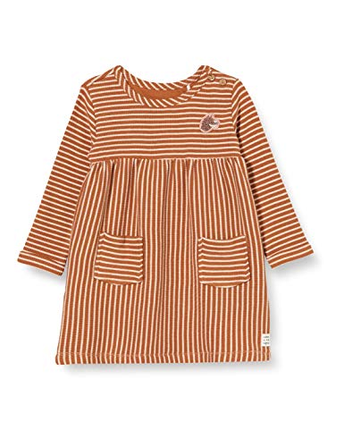 Noppies Baby-Mädchen G Dress LS Melmoth Y/D STR Kinderkleid, Rust-P589, 74