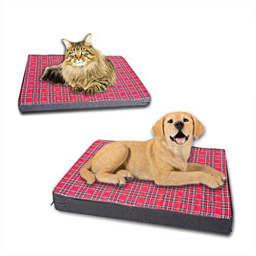 Caseta colchón para perro o gato, cama de 5 cm y 9 cm, de espuma viscoelástica lavable y desenfundable (60 x 50 cm, esponja escocesa de 5 cm)