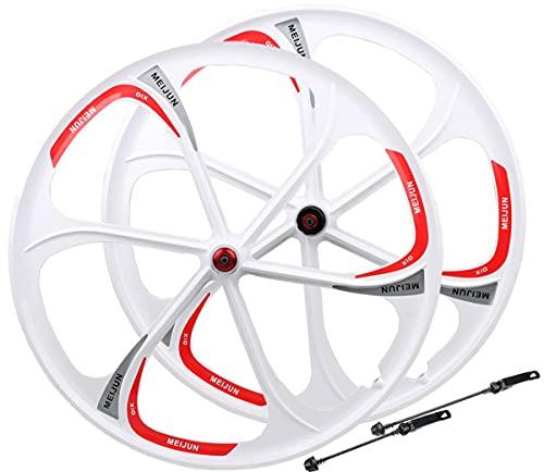LHHL Ruedas De Bicicleta MTB De 26' Llanta De Aleación De Magnesio,QR Rodamiento Sellado Freno De Disco 7/8/9/10 Velocidades (Color : White, Size : 26')