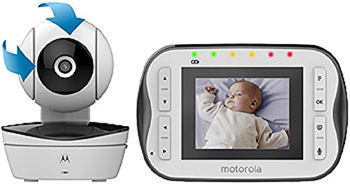 """Motorola Digital Video Baby Monitor MBP41S with Video 2.8 Inch Color Screen, Infrared Night Vision, with Camera Pan, Tilt, and Zoom … (2.8"""" Screen - One Camera)"""