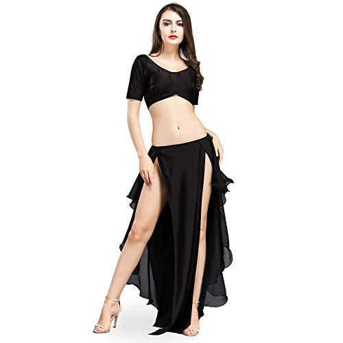 ROYAL SMEELA Bauchtanz Set Tops Röcke für Frauen Bauchtanz Kostum Anzug Mode Sexy Tanzen Kostüme Set Crop Top und Schlitz Rock Lang Bauchtanz Rock Oberteil