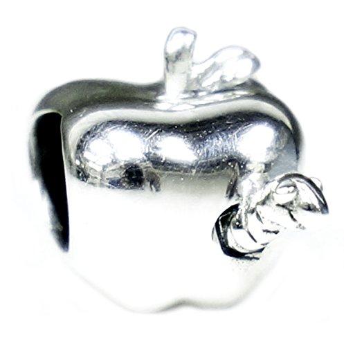 Queenberry Plata de Ley Profesor Apple del Gusano European Style Bead Charm