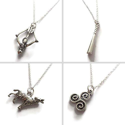 Teen wolf necklace, tv fandom gift, werewolf jewellery, novelty present, crossbow, baseball bat, wolf, triskelion charm, party bag favors, xmas stocking present