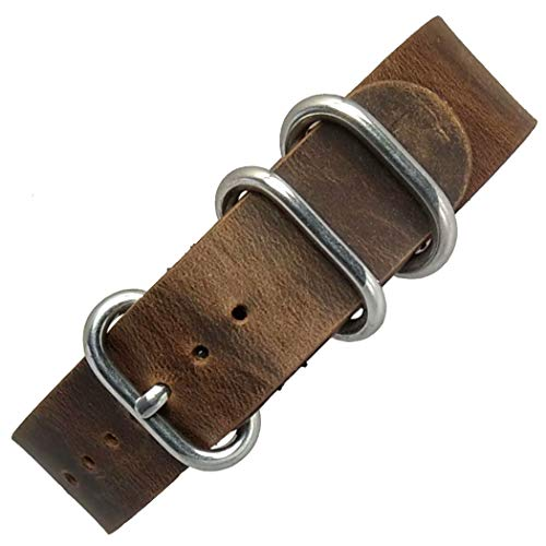 time+ 20mm 5-Ring Military Style Distressed Vintage Leather Watch Band Strap Brown