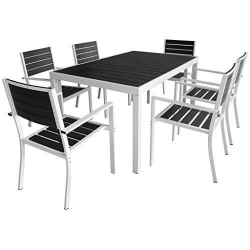 Lasamot Set Comedor jardín 7 pzas Comedor Exterior Conjunto de jardín terraza Muebles de jardín Comedor Juego Conjunto de Sillas Aluminio y Superficie Mesa WPC Negro