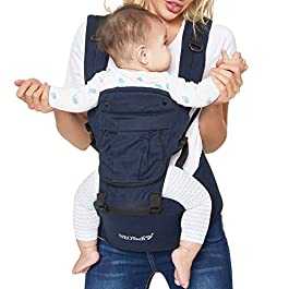 Baby Carrier Hip Seat 100% Cotton – Pocket & Removable Hoodie/Head Support – Adjustable & Breathable – Neotech Care Brand – for Infant, Child, Toddler – Grey or Blue