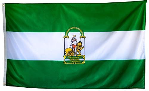 esvendio Bandera de Andalucía Grande de Tela Fuerte, Bandera Andaluza para Exterior 150x90 cm