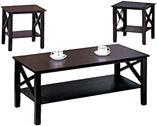 K&B 3-Piece Merlot Finish Includes One Cocktail and Two End Tables Set
