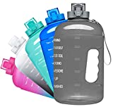 Venture Pal Large 128oz Leakproof BPA Free Fitness Sports Water Bottle with Motivational Time Marker to Ensure You Drink Enough Water Throughout The Day-Gray