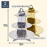 2er-Pack Cupcake-Ständer aus Pappe – 3-stöckiger Dessertständer Cupcake-Turm – Cupcake-Baum-Display für Babypartys, Hochzeiten, Geburtstage, Gold und Silber, 30 x 34 x 30 cm - 2