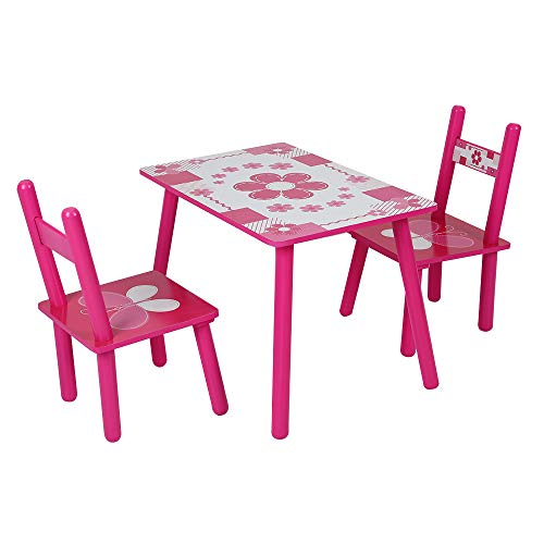 YORKING 2 Chairs 1 Table Pink Flowers Childrens Kids Wooden Garden Table...