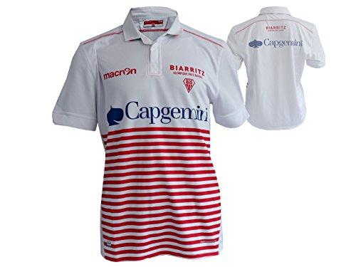Macron Biarritz Olympique Rugby Jersey weiß Rugby Union Team Frankreich Shirt Trikot, Größe:M