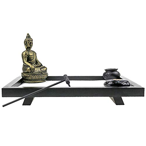 Mini Meditation Zen Garden for Table or Desk - Beautiful Relaxation Gift, Japanese Décor, Buddha Statue and Sand Kit with Accessories