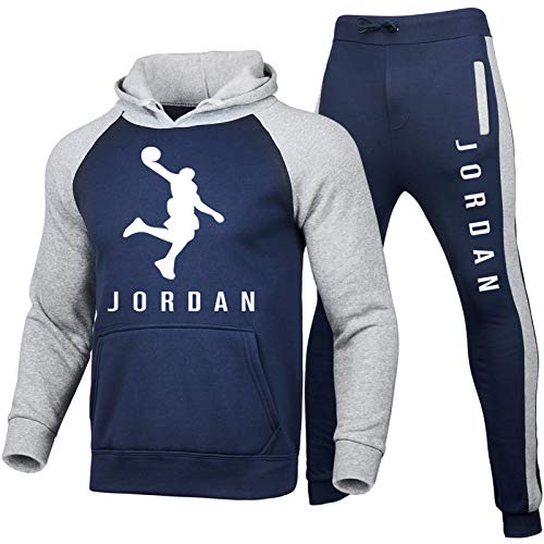 Jordan3-XXL - Conjunto de chándal de baloncesto para hombre, de manga larga, de 2 piezas, sudadera con capucha y pantalones (S-XXXL)