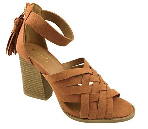 Sandalias de gamuza sintética para mujer, con flecos, tacón ancho, color marrón, talla 39 – 9, color Marrón, talla 37 EU