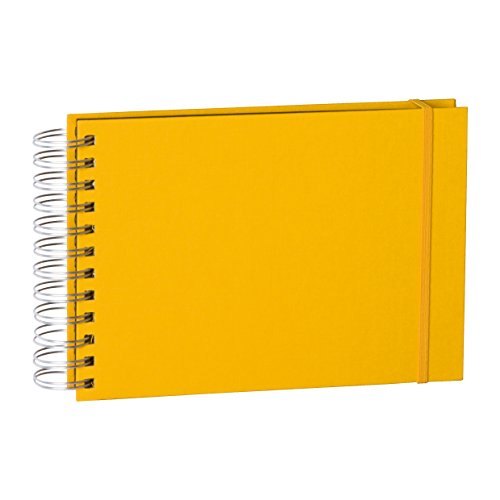 Semikolon (352977) Mini Mucho Album sun (gelb) - Spiral-Fotoalbum mit 90 Seiten und Leinen-Einband - Spiral-Foto-Buch schwarzem Fotokarton