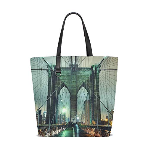XiangHeFu Bolsos de mujer Noche Paisaje Puente de Brooklyn Bolso de tela de poliéster