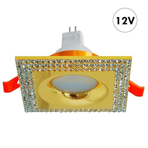 Quadratischer Strahler Gold Kristalle Einbau 65 mm LED GU5.3 7 W MR16 Licht Küche Boot 4000K