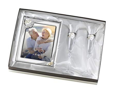 El Faro Set Bilderrahmen mit Lochung 20 x 25 Pokalen 50 Geburtstag Hochzeit Gold Silber Bilaminiert