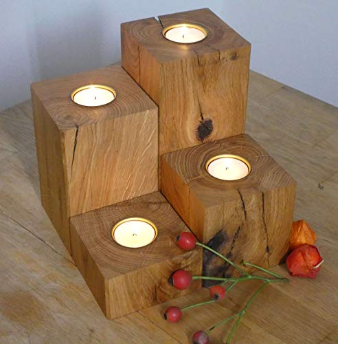 Teelichthalter 4er Set Holz Eiche Massivholz Kerzenständer Adventsdeko Teelicht Eichenholz Herbstdeko (Metall)