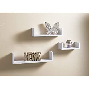 Customer reviews Set Of 3 Different Sizes U Shaped Wooden Floating Shelf Available in black,White (White)
