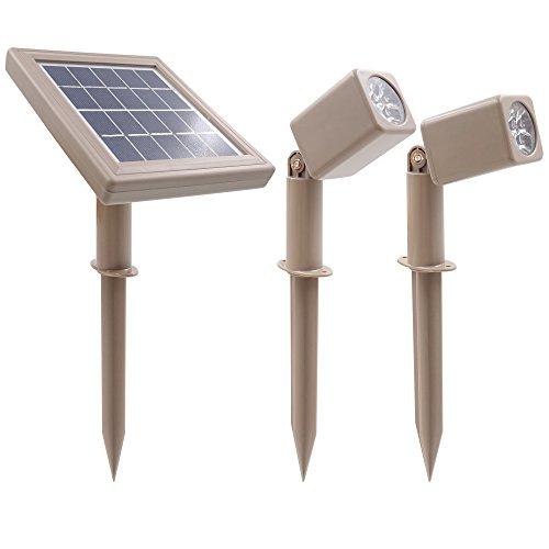 HEX 30X Dos focos solares LED de luz cálida para jardines exteriores, de luz descendente
