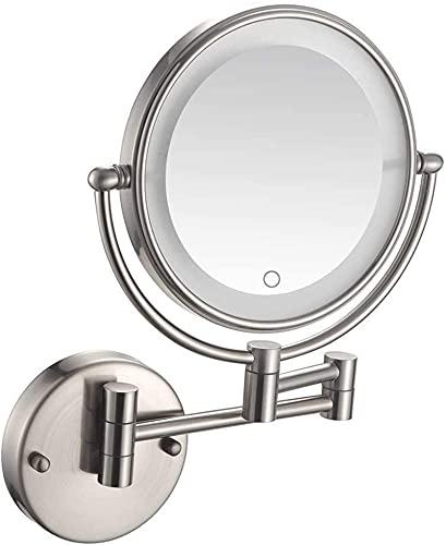 ROSG Espejo de Maquillaje Espejos de Maquillaje de tocador Espejos de Aumento de Doble Cara para baño Afeitado Espejo cosmético con Interruptor táctil Espejos de Pared con Enchufe para afeitarse