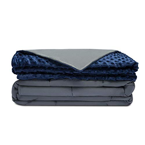 Quility Premium Adult Weighted Blanket & Removable Cover - 15 lbs - 60'x80' - for Individual Between 140-190 lbs - Full Size Bed - Premium Glass Beads - Cotton/Minky - Grey/Navy Blue Color