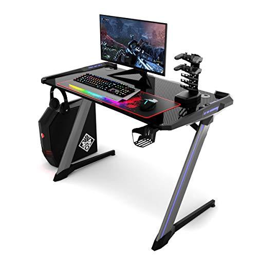 COSTWAY Gaming Tisch mit RGB-Led, Computertisch ergonomisch, Schreibtisch mit Becher- und Kopfhörerhalterung, USB-Controller-Halterung und Mausunterlage, schwarz